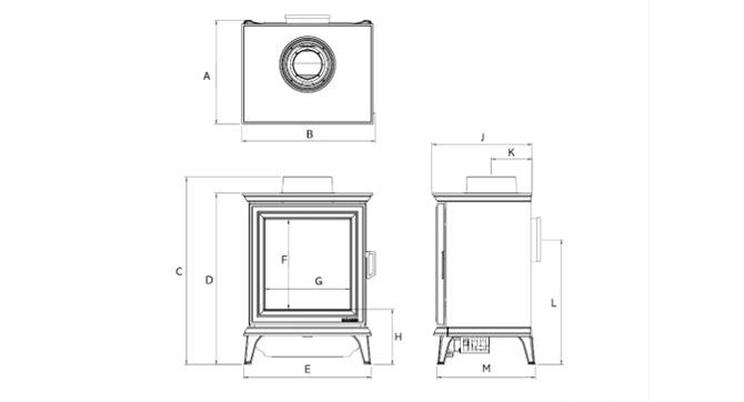 Sheraton 5 gaskachel Dimensions