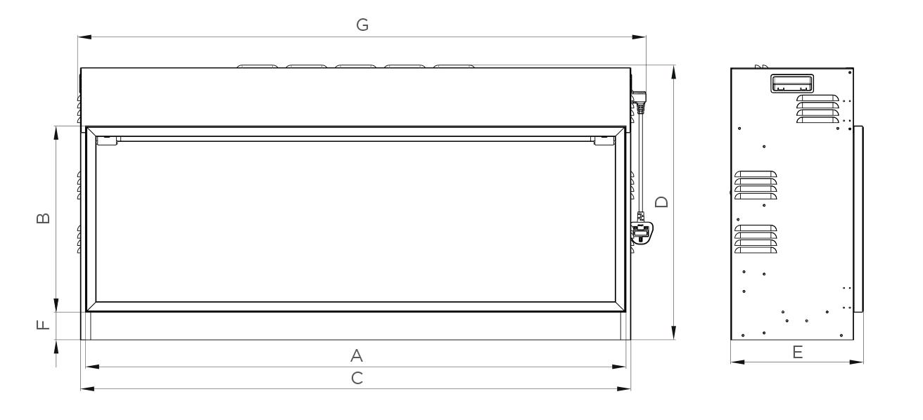 eReflex 105R inbouwhaard (voorheen Skope) Dimensions