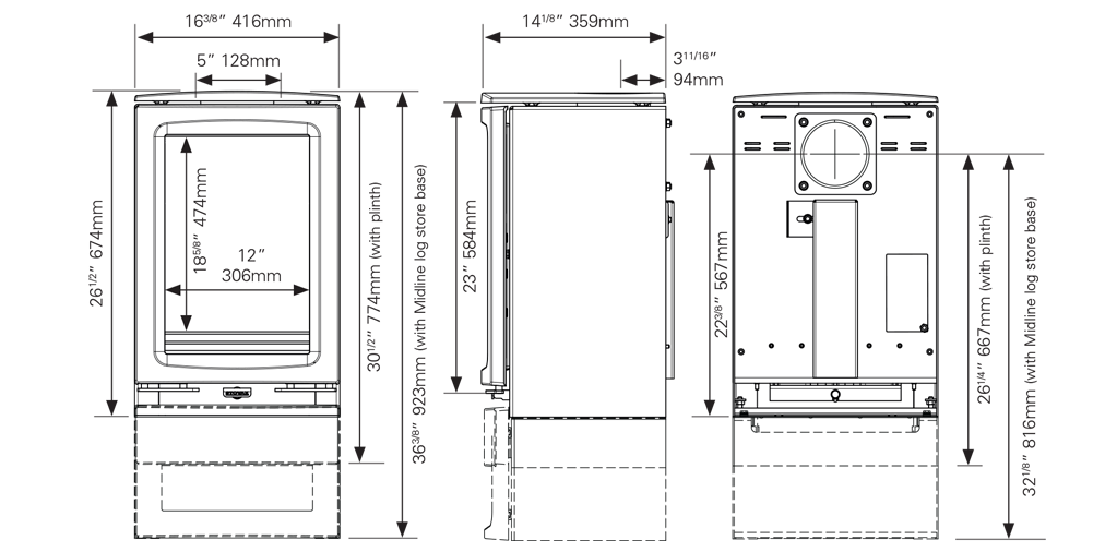 Vogue houtkachel – Midi T Dimensions