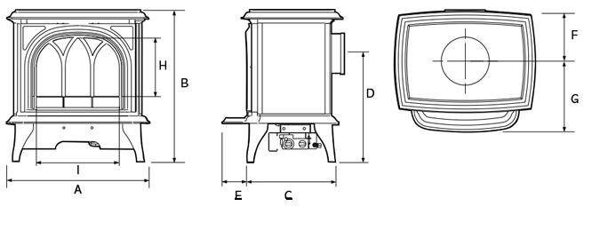 Huntingdon Elektrische kachels Dimensions