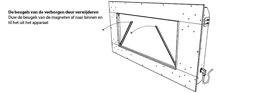 This image is for illustration purpose only. It has been taken from the Riva2 and Studio Electric Inset Range, PR1394, Issue 4 (December 2012) instruction manual to show how to remove the hidden door brackets of your Inset electric models